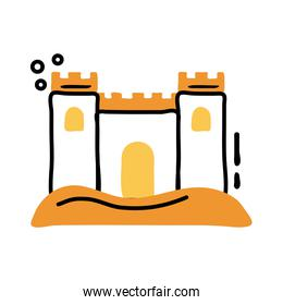 sand castle line and fill icon