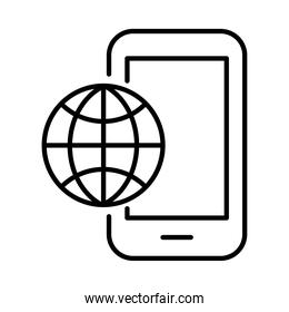 smartphone with sphere browser payments online line style