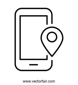 smartphone with pin location payments online line style