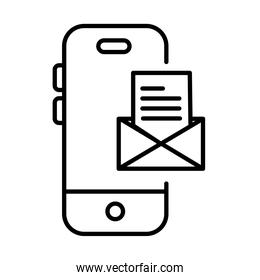smartphone with envelope payments online line style