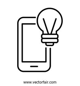 smartphone with bulb payments online line style