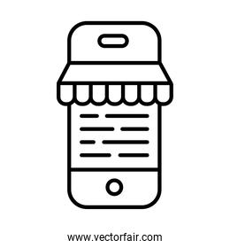 smartphone with parasol payments online line style
