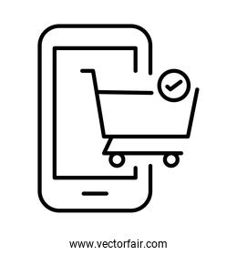 smartphone with shopping cart payments online line style