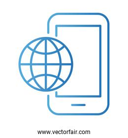 smartphone with sphere browser payments online gradient style