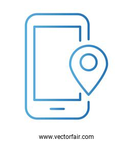 smartphone with pin location payments online gradient style