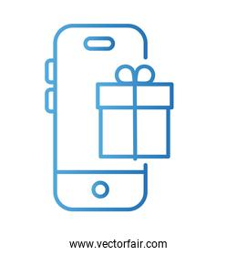 smartphone with gift payments online gradient style