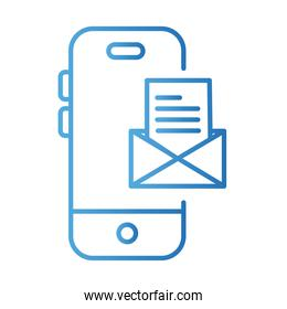 smartphone with envelope payments online gradient style