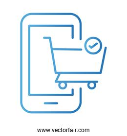 smartphone with shopping cart payments online gradient style