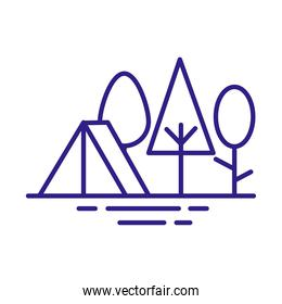 tent in forest line style icon