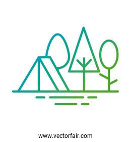 tent in forest gradient style icon