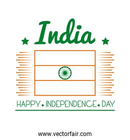 Independece day india celebration with flag line style icon