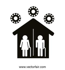 old couple silhouettes distance social in house silhouette style icon