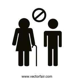 old couple silhouettes distance social silhouette style icon
