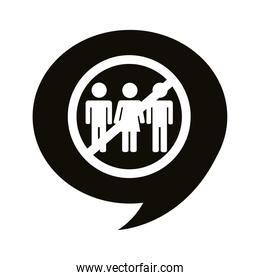 avoid crowds alert signal in speech bubble silhouette style icon