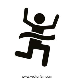 runner with finish tape avatar figure silhouette style icon