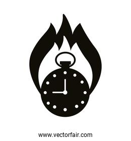 chronometer timer with flame silhouette style icon