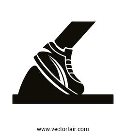 runner foot with tennis silhouette style icon