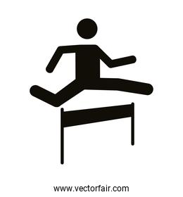 runner jumping obstacle avatar figure silhouette style icon