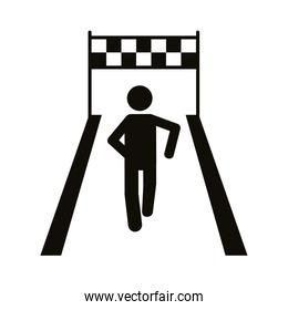 runner in athletic track avatar figure silhouette style icon