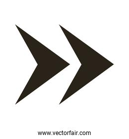arrows right direction silhouette style icon