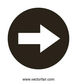 arrow right direction button silhouette style icon