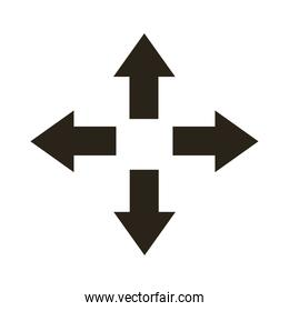multidirectional arrows silhouette style icon
