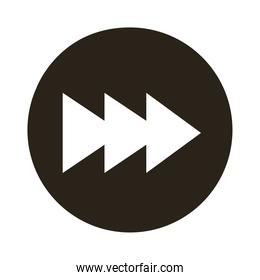 arrows right direction button silhouette style icon