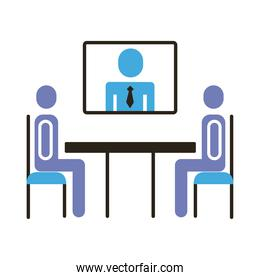 businessmen teamwork figures in table with teleconference flat style