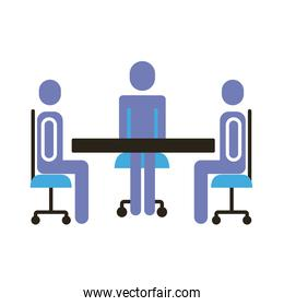 businessmen teamwork figures in table flat style icon