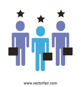 businessmen teamwork figures with stars flat style icon