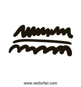 horizontal line and waves creative design with brush stroke silhouette style