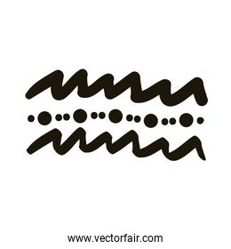 waves and points creative design with brush stroke silhouette style