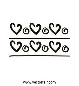 twisters and hearts creative design with brush stroke silhouette style