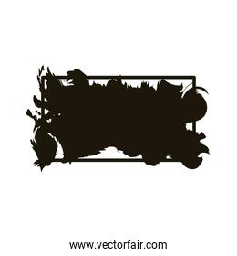 stain in square frame creative design with brush stroke silhouette style