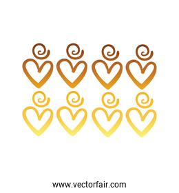 twisters and hearts creative design with brush stroke degradient style