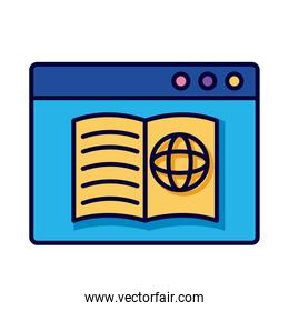 sphere browser in book with webpage template line and fill style icon