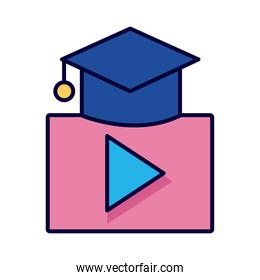 hat graduation with play button line and fill style icon