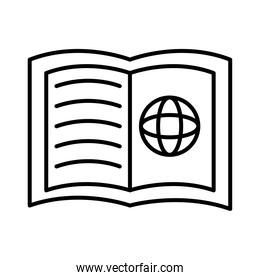 sphere browser in book with line style icon
