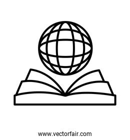 sphere browser with ebook line style icon