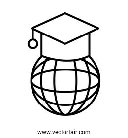sphere browser with graduation hat line style icon