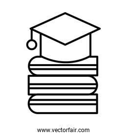 hat graduation with books line style icon