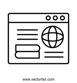sphere browser with template webpage line style icon