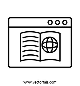 sphere browser in book with webpage template line style icon
