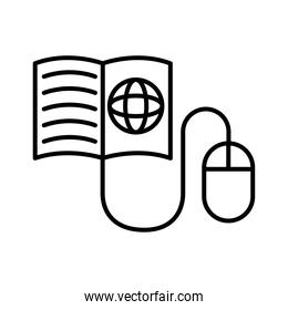 sphere browser in book with mouse line style icon