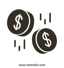 coins money dollars silhouette style icon