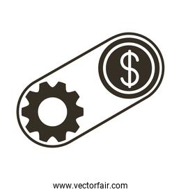 coin dollar with gear silhouette style icon