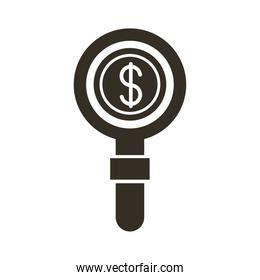 coin dollar with magnifying glass silhouette style icon