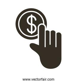 hand with coin money dollar line style