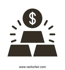 coin dollar with ingots silhouette style icon