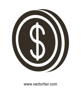 coin dollar silhouette style icon